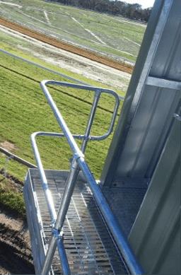 Stewards tower safety handrail